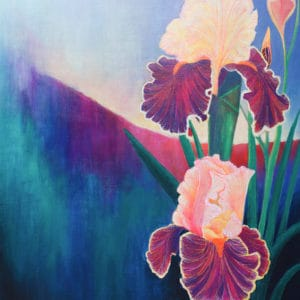 Coming into light Iris flowers and yoni blooming in the morning light