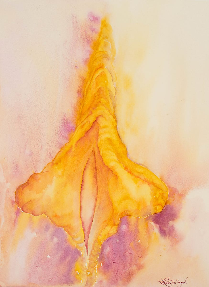 Vulva with large lips and hood art in golden yellow watercolour