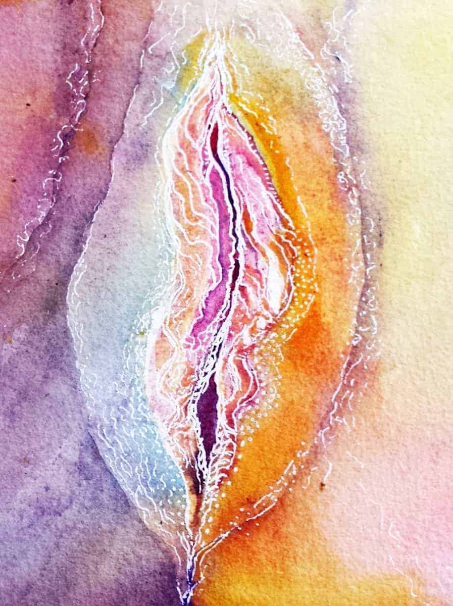 The original woman Rainbow vagina line art painting by Katie Lloyd