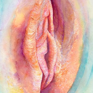 Pretty as a peach Yoni art Vulva drawing painted in watercolour in peach and purple colours by artist Katie Lloyd