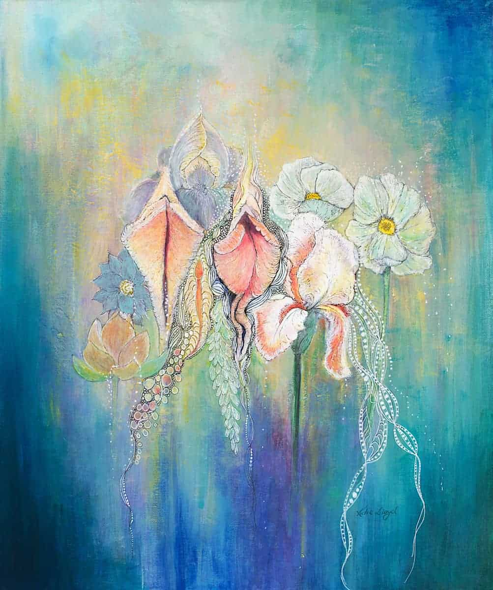 yoni's in bloom Acrylic painting of vulva or vagina painted next to bearded iris, lotus flowers by Katie Lloyd