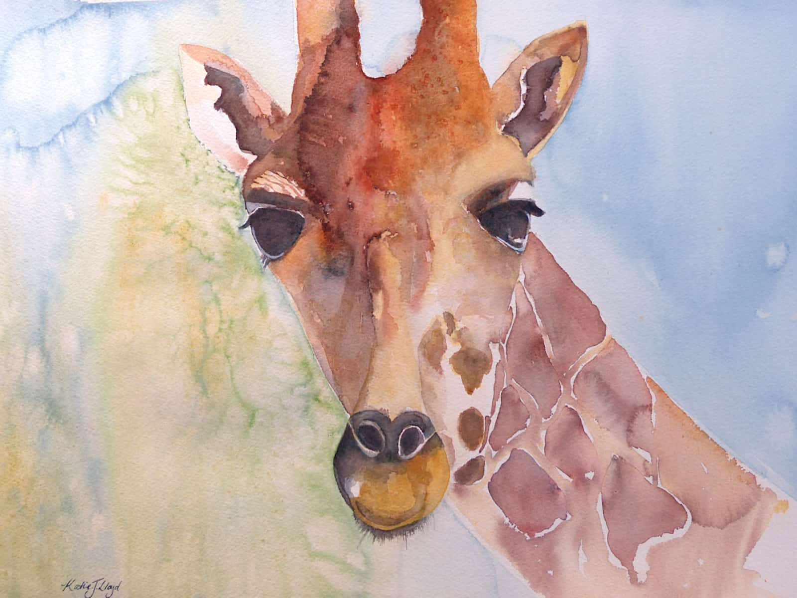 Watercolour giraffe painting with a blue and green background by Katie Lloyd