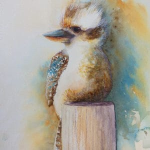 Kookaburra bird on a fence post watercolour painting by Katie Lloyd