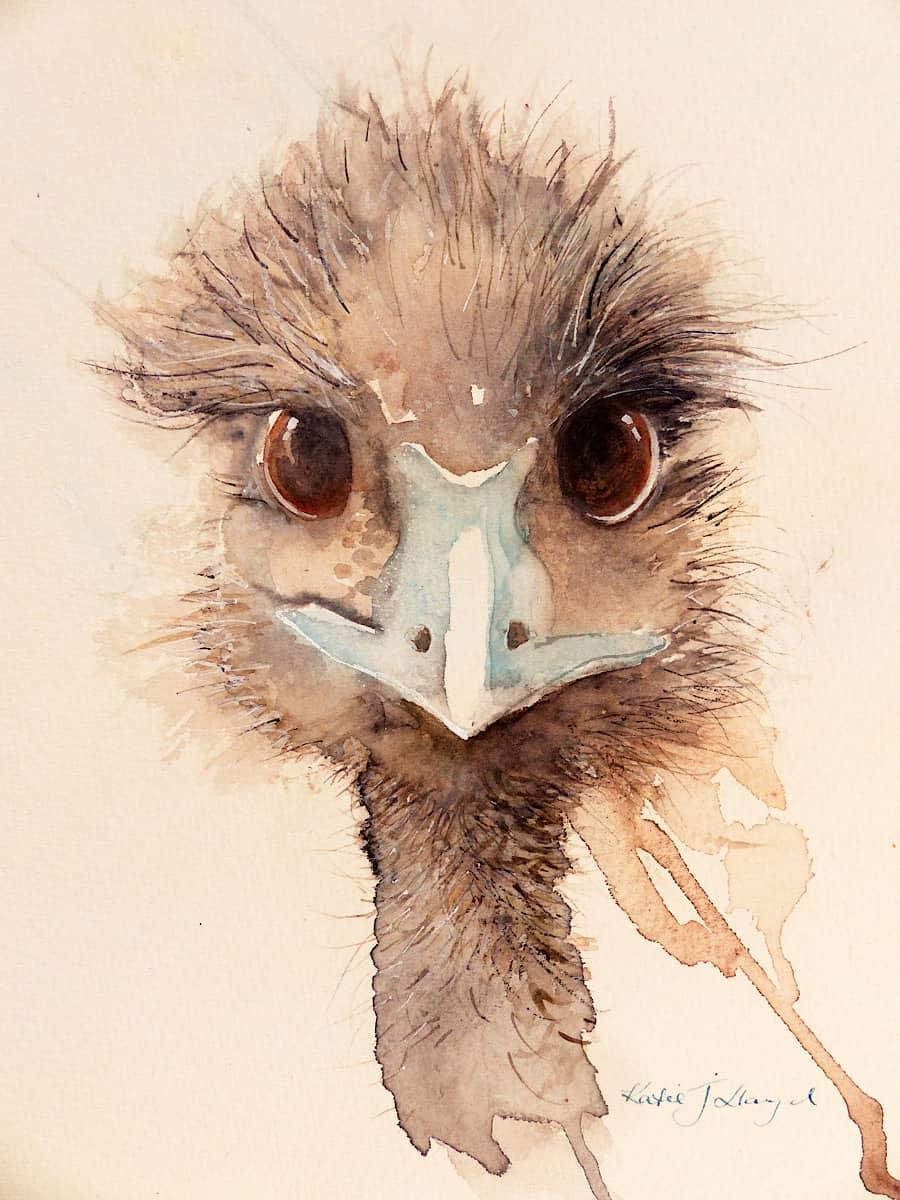 Australian Emu, watercolour in earth tones by artist Katie Lloyd