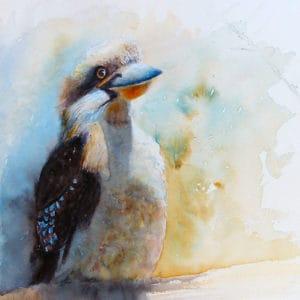 Watercolour painting Kookaburra sitting on a log by Katie Lloyd