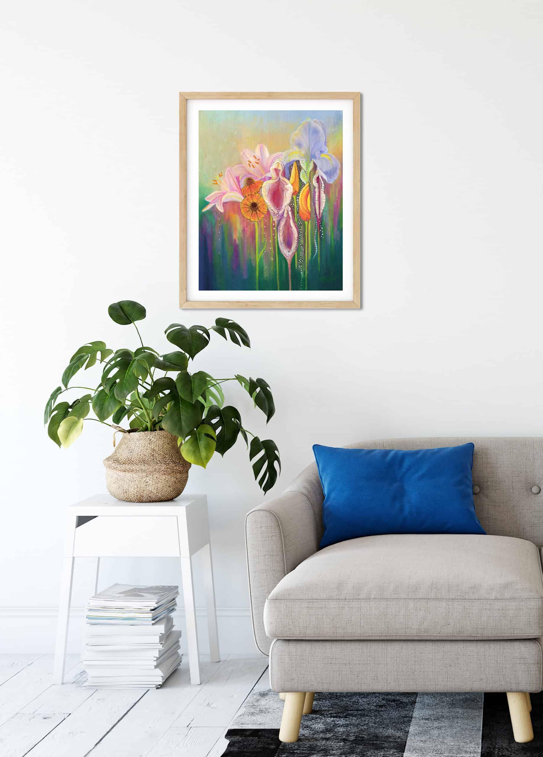 Yoni Nectar hanging on lounge room wall