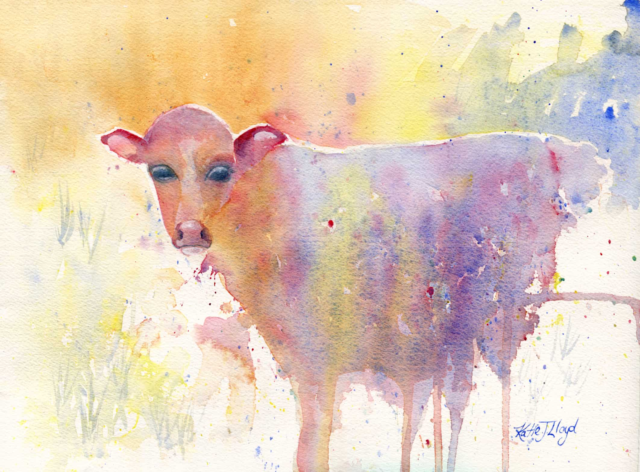 rainbow cow watercolour painting